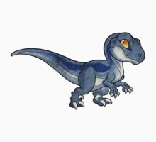 Chibi kawaii grey blue streaked velociraptor by nyctherion