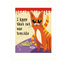 funny Halloween trouble cat zombie mouse Art Print