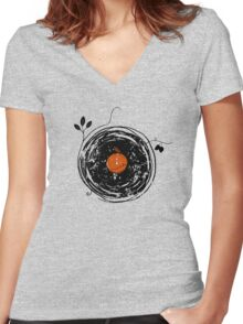 Enchanting Vinyl Records Vintage Women's Fitted V-Neck T-Shirt