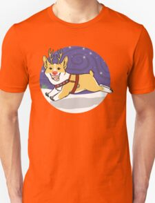 Rudolph the Red Nosed Corgi - with Background T-Shirt