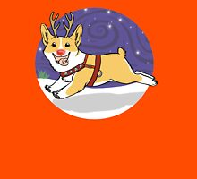 Rudolph the Red Nosed Corgi - with Background Unisex T-Shirt