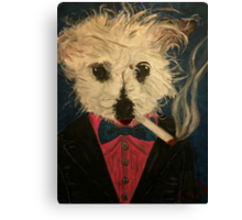 Ziggy The Distinguished Smoking Dog Canvas Print