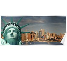 new york skyline, nyc cityscape over hudson river Poster