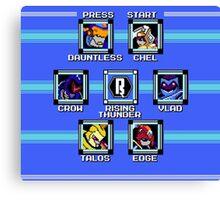 Rising Thunder - Megaman 2 Boss Select Canvas Print