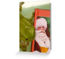 I saw Santa with a BEER  ! Greeting Card