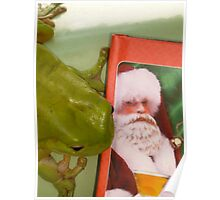 I saw Santa with a BEER  ! Poster