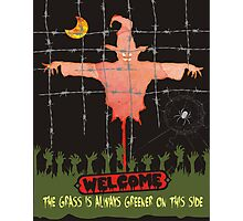 Halloween scarecrow zombie grass is greener Photographic Print