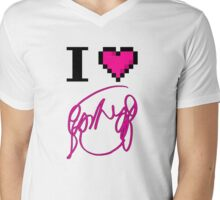 I Heart Flowers (White) Mens V-Neck T-Shirt