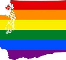 LGBT Flag Map of Washington  by abbeyz71