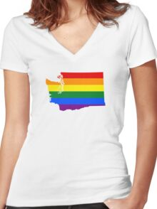 LGBT Flag Map of Washington  Women's Fitted V-Neck T-Shirt