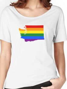 LGBT Flag Map of Washington  Women's Relaxed Fit T-Shirt