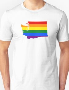 LGBT Flag Map of Washington  Unisex T-Shirt