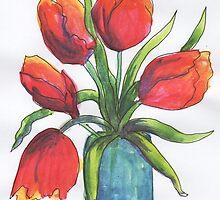 Tulips in Blue Vase by FSH2
