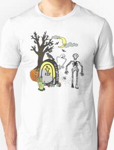 Halloween doodles slice of life skeleton ghost spider graveyard T-Shirt