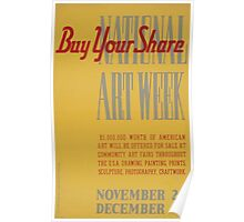 WPA United States Government Work Project Administration Poster 0546 Buy Your Share National Art Week Poster
