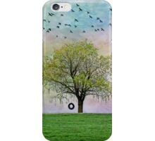 Rural Country Pasture Tree Sky Birds Summer Nostalgia iPhone Case/Skin