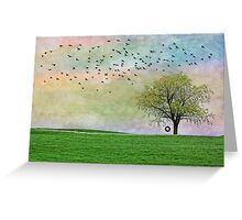 Rural Country Pasture Tree Sky Birds Summer Nostalgia Greeting Card