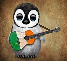 Baby Penguin Playing Irish Flag Guitar by Jeff Bartels