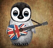 Baby Penguin Playing British Flag Guitar by Jeff Bartels
