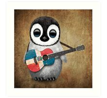 Baby Penguin Playing Dominican Republic Flag Guitar Art Print