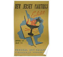 WPA United States Government Work Project Administration Poster 0592 New Jersey Paintings Exhibit Poster