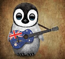 Baby Penguin Playing Australian Flag Guitar by Jeff Bartels