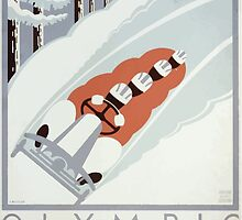 WPA United States Government Work Project Administration Poster 0126 Olympic Bobsled Run Lake Placid Winter Calls Play by wetdryvac
