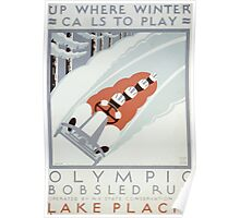 WPA United States Government Work Project Administration Poster 0126 Olympic Bobsled Run Lake Placid Winter Calls Play Poster