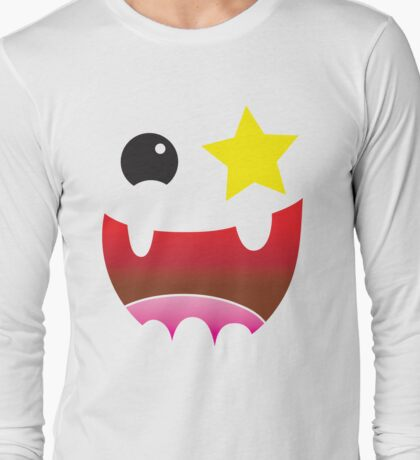 Crazy happy maniac face with stars and teeth  Long Sleeve T-Shirt