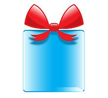 Blue gift or present with a red bow Photographic Print