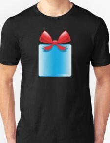 Blue gift or present with a red bow Unisex T-Shirt
