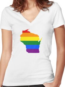 LGBT Flag Map of Wisconsin  Women's Fitted V-Neck T-Shirt
