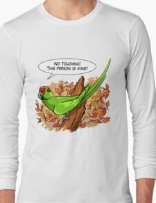 Talking green ringneck parrot Long Sleeve T-Shirt