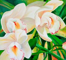 Threes a crowd orchid painting by Chris Hobel