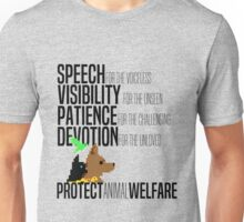 Protect Animal Welfare (black text) Unisex T-Shirt