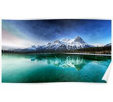 Canadian Rockies and green relection at Canmore Poster