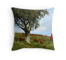 Highlanders! The White Rock Herd (Fold) Throw Pillow