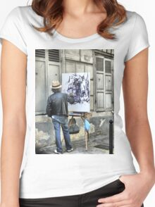A Paintbrush in Montmartre Women's Fitted Scoop T-Shirt