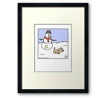 Snowman prank Framed Print