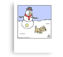 Snowman prank Canvas Print