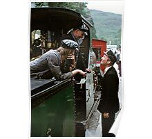 Time for a chat on the Ffestiniog, Wales, UK, 1970s Poster