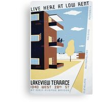 WPA United States Government Work Project Administration Poster 0293 Live Here at Low Rent Lakeview Terrace Canvas Print