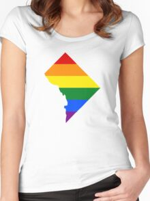 LGBT Flag Map of Washington, D.C.  Women's Fitted Scoop T-Shirt