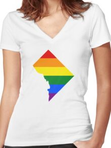LGBT Flag Map of Washington, D.C.  Women's Fitted V-Neck T-Shirt