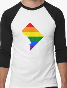 LGBT Flag Map of Washington, D.C.  Men's Baseball ¾ T-Shirt