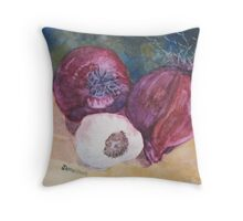 Red Onions And Garlic Throw Pillow