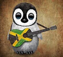 Baby Penguin Playing Jamaican Flag Guitar by Jeff Bartels