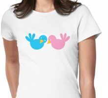cute little birds whispering to each other pink blue Womens Fitted T-Shirt