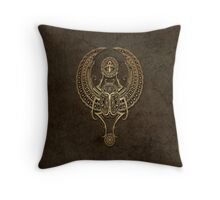 Stone Winged Egyptian Scarab Beetle with Ankh  Throw Pillow