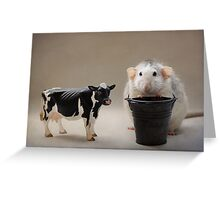 Rosie just finished milking the cow :) Greeting Card